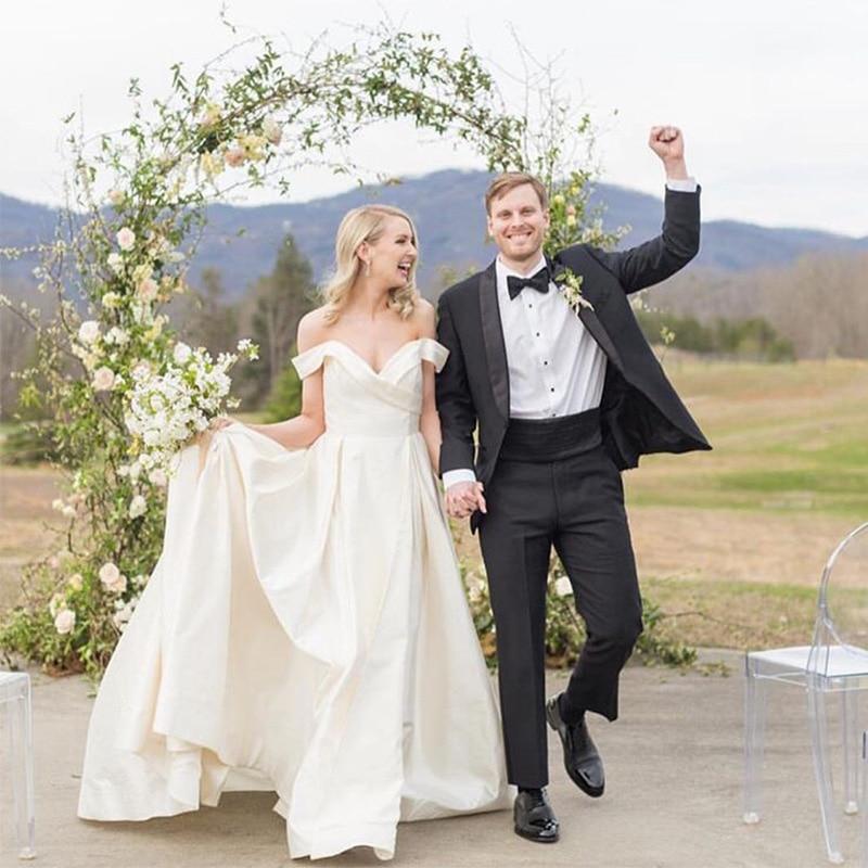 Off The Shoulder A Line Wedding Dress White Ivory Elegant