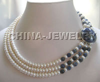 Selling Jewelry>>> P1278 17 19 3row 8mm white freshwater pearl and lapis lazuli necklace white GP