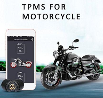 KUNFINE Motorcycle Bluetooth Tire Pressure Monitoring System TPMS Mobile Phone APP Detection 2 External Sensors