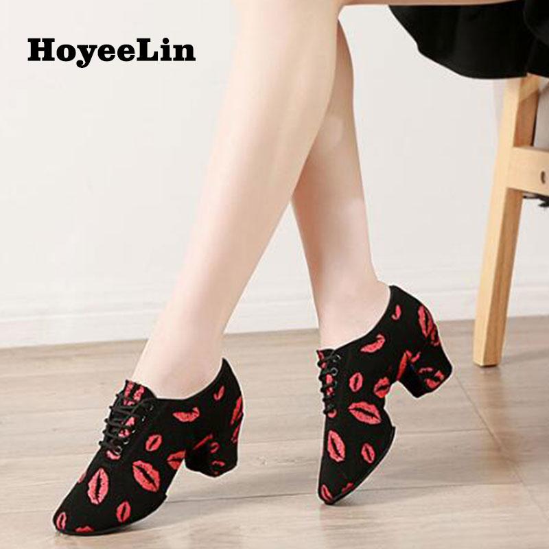HoYeeLin Latin Tango Dance Practice Teacher Shoes Women Ladies Split Sole Ballroom Heeled 5cm Dancing Shoes