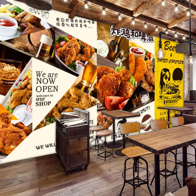 Online Shop Custom 3d Mural 3d Custom Fried Chicken Beer Fast Food
