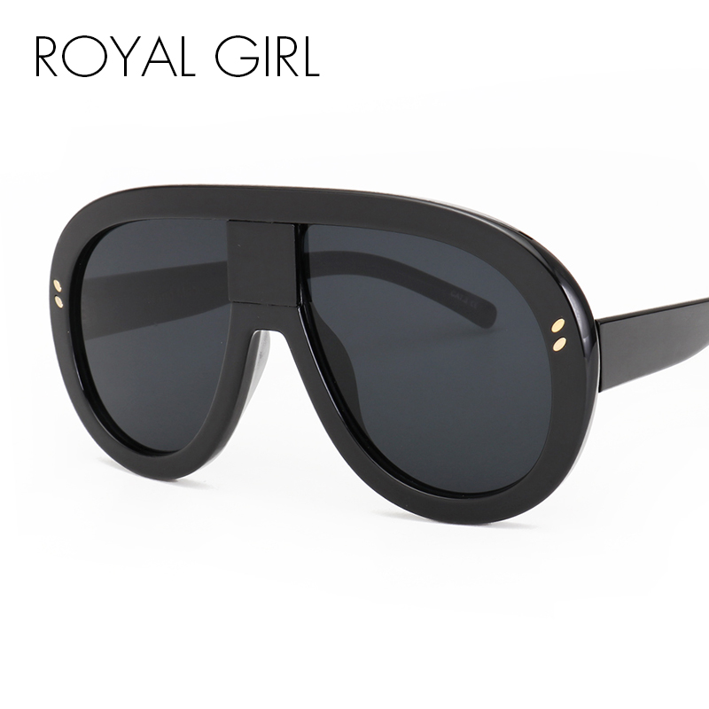 ROYAL GIRL Oversized 2018 New Women Brand Designer Vintage Mirror Big Frame Rivet Shades estilo Ladies Eyewear Glasses ss192