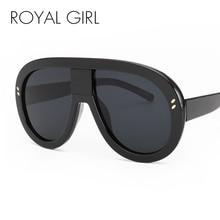 ROYAL GIRL Oversized 2017 New Women Brand Designer Vintage Mirror Big Frame Rivet Shades Style Ladies  Eyewear Glasses ss192
