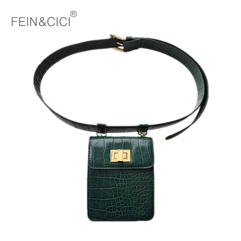 Fanny Pack Belt Bag Animal Print Crocodile Alligator Waist Bag Women Luxury Brand Leather 2018 New Hight Quality Green Brown