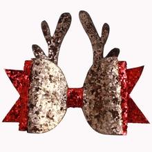 Adogirl クリスマスヘアクリップスパンコールトナカイホーンレイヤード女の子のため Fashioin クリスマスパーティー帽子のブティックアクセサリー