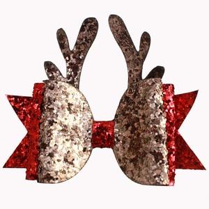 Image 1 - Adogirl świąteczne klipsy do włosów cekiny reniferowe rogi warstwowe kokardy do włosów dla dziewczynek Fashioin Xmas ozdoby do włosów imprezowe Boutique akcesoria