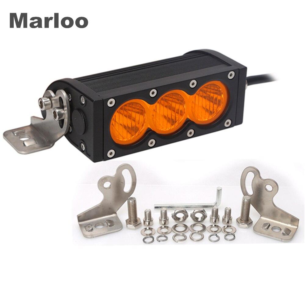 Marloo 2pcs 6inch 30W Flood Beam Single Row Amber Color Led Driving Work Light Bar 12v/24v For Truck ATV