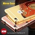Espejo de Diseño de Marco de Metal de Aluminio de lujo + Acrílico Caja Trasera Para huawei p7 p8 p8lite p9 p9plus cajas del teléfono celular duro de la cubierta