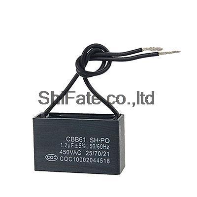 450vac 50 60hz 2 wire fan capacitor cbb61 1 2mfd in. Black Bedroom Furniture Sets. Home Design Ideas