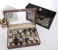 Stone Pattern Black/Brown 12 Grid PU Leather watch display box bracelet case decoration show case storage watch box with lid