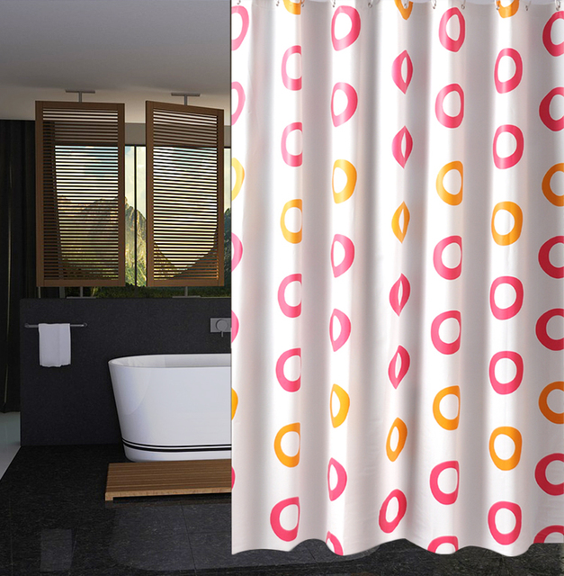 Rubihome Shower Curtain For Bathroom Peva Thicken Waterproof Decor Pink And Yellow Geometric Circles With Hooks