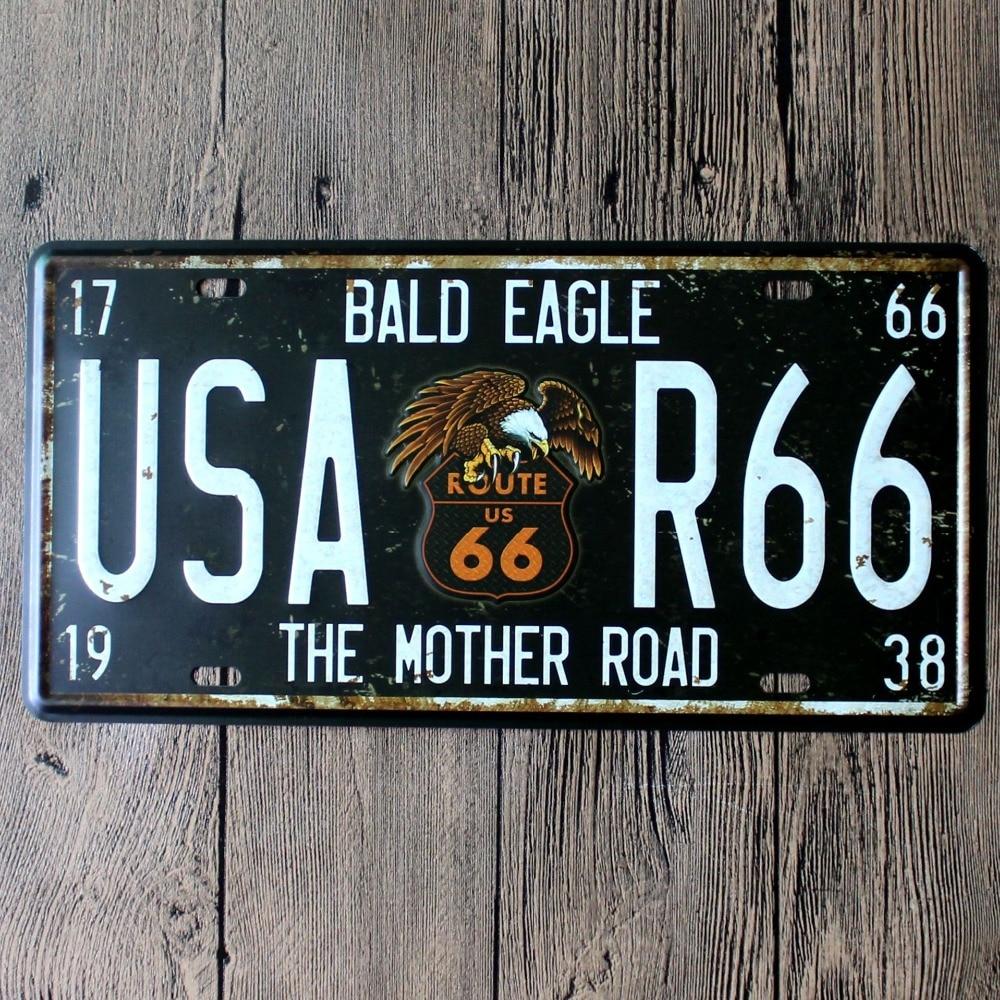 15x30 Cm Vintage Vintage License Plates Usa Route 66 Mother