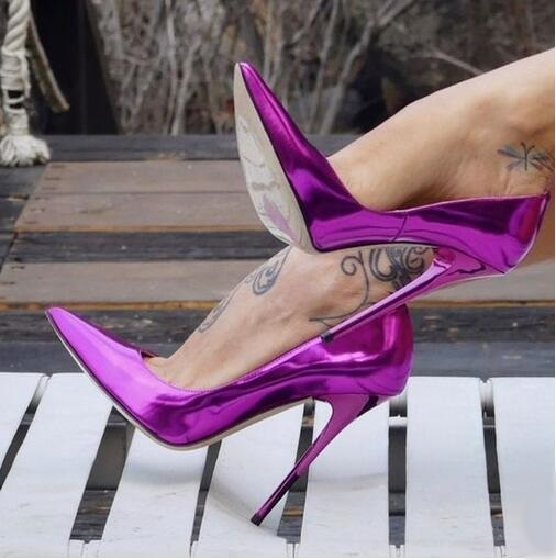 Sexy Fluorescent miroir cuir haut talon pompes 12 CM talons aiguilles en cuir verni peu profond robe chaussures brillant mariage talons