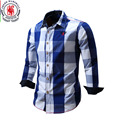 2016 Nueva Llegada camisa de Los Hombres Camisa de Manga Larga Para Hombre Camisas de Vestir de Marca de Estilo de Negocios de Moda Casual Camisas de Algodón 100% 064