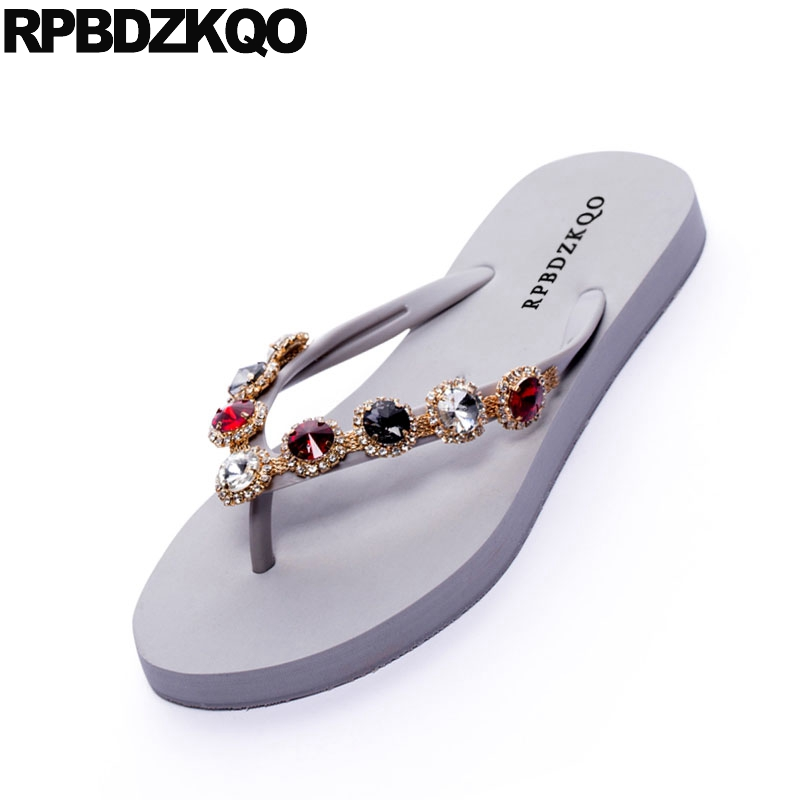 431df9f26cf0cb ... Female Flip Slides Holiday Shoes Flat Jewel 2018 Women Crystal Flop  Casual Summer Black Red Diamond ...