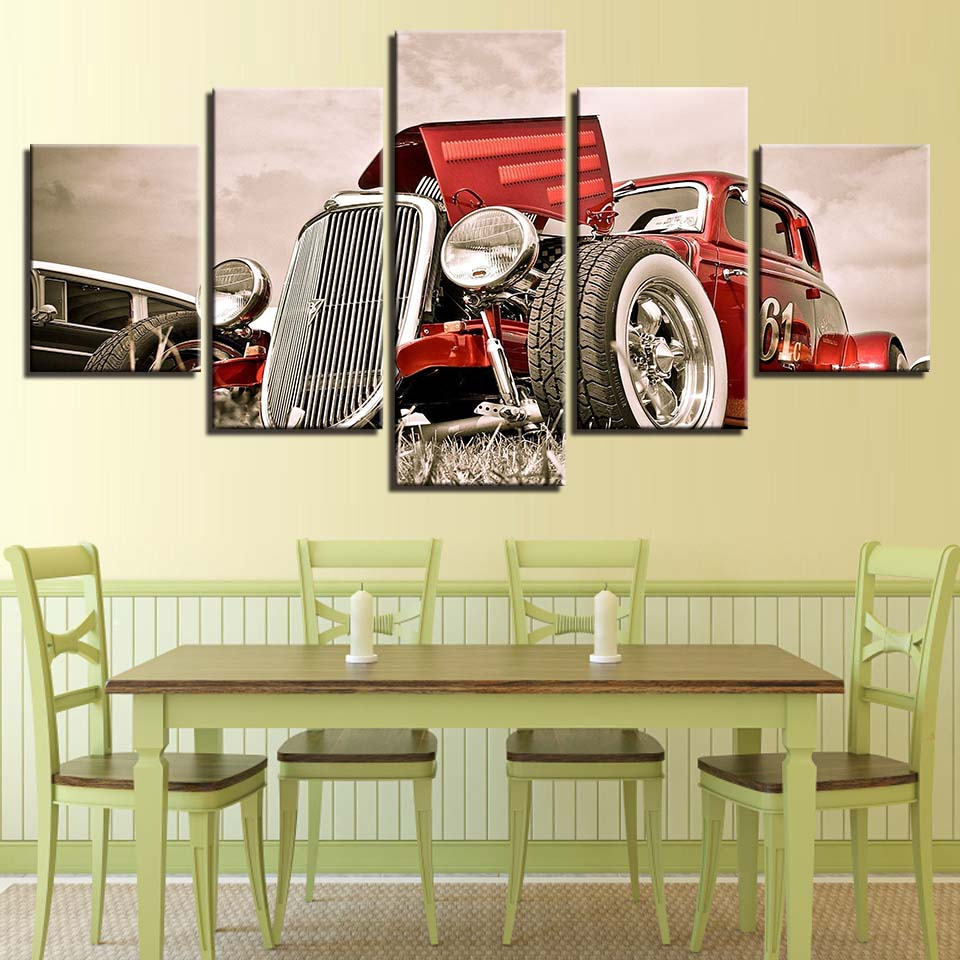 Canvas Wall Art Pictures Home Decor 5 Pieces Hot Rod Red Front View ...
