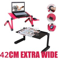 Large Laptop Table With 2 Cooling Fans Sofa Desk Stand Foldable Multi Angle Legs 360 Rolling