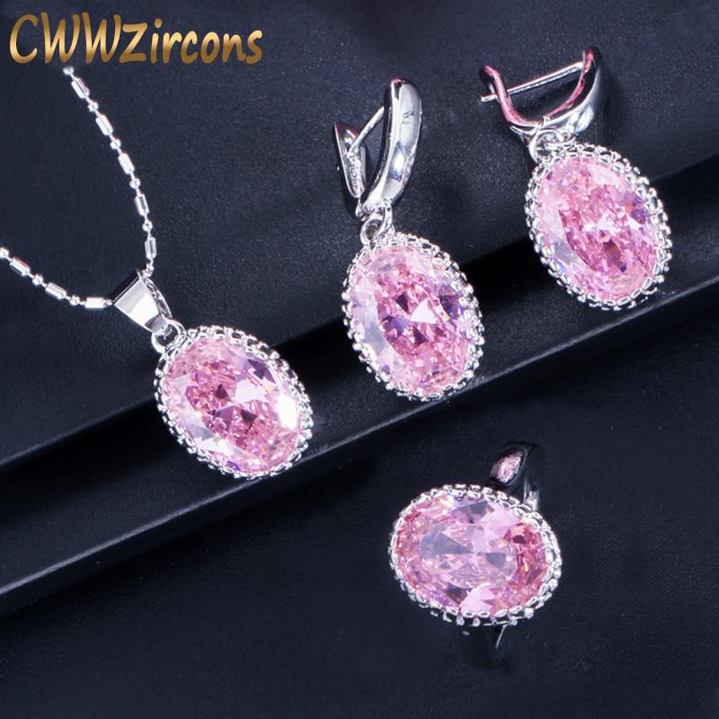 CWWZircons Rodada Roxo Rosa Anstrian Cristal Senhoras Jóias de Prata Esterlina 925 Conjuntos de Jóias de Moda Presentes de Natal T271