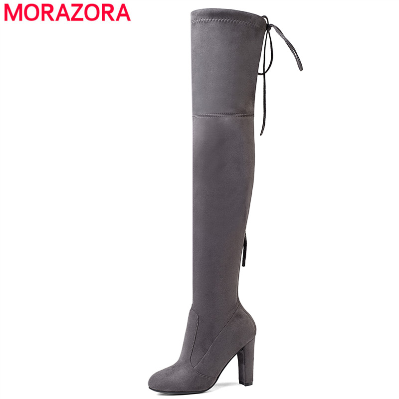 MORAZORA 2018 Newest Thigh High Boots Women High Heels Lace Up Over the Knee Boots Zip Autumn Winter Faux Suede Boots Lady Shoes morazora new china s style knee high boots flowers embroidery spring autumn boots for women zipper cow suede med heels boots