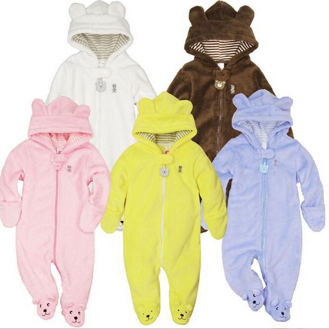 Novo 2016, roupas de inverno do outono, romper do bebê, roupa quente, recém nascido, bebê geral, bebê menino menina macacão, 3-9 M