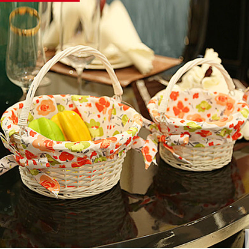 Small Large wicker storage baskets organizer for fruits eggs vintage picnic basket outgoing decorative