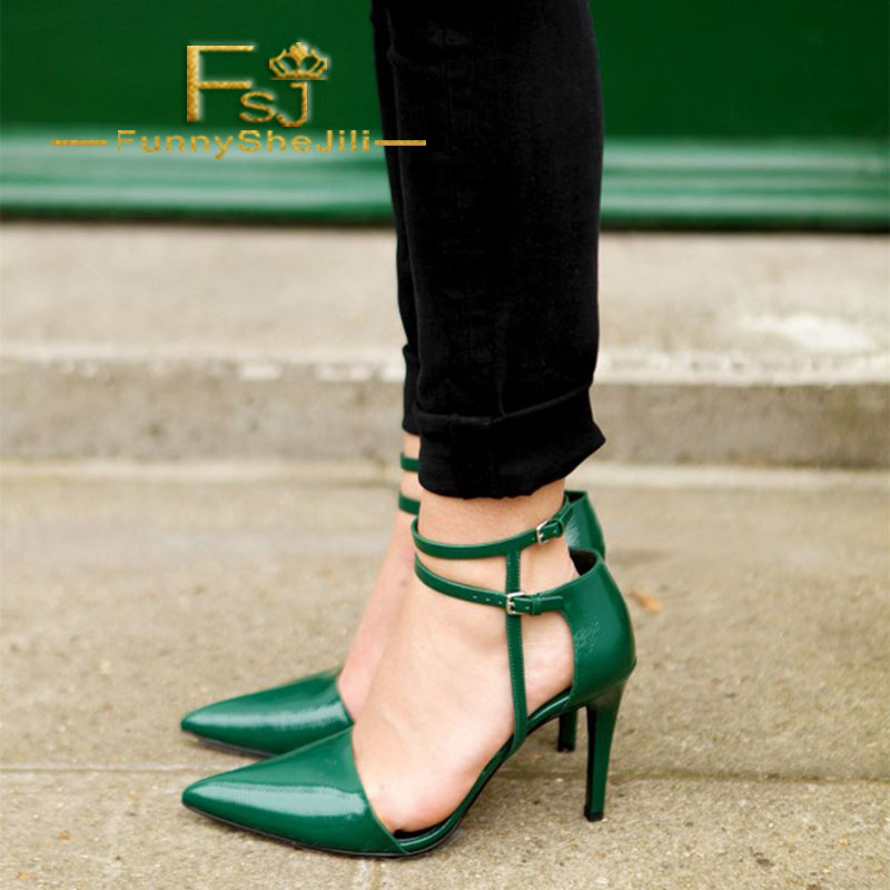 Women' Green Vintage Ankle Strap Heels Pointed Toe Pumps