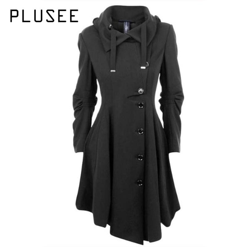 Plusee Fashion Long Medieval Trench Coat Women Autumn Winter Asymmetric Black Gothic Coat Elegant Women Coat