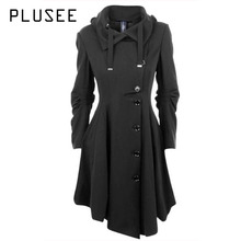 Plusee Fashion Long Medieval Trench Coat Women Autumn Winter Asymmetric Black Gothic Coat Elegant Women Coat Vintage Female 2017