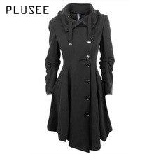 Plusee Fashion Long Medieval Trench Coat Women Autumn Winter Asymmetric Black Gothic Coat Elegant Women Coat Vintage Female 2017