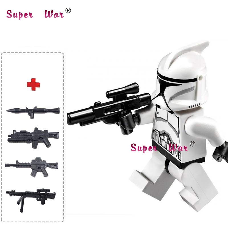 1PCS star wars superhero building blocks Clone Jet Trooper action sets model bricks Baby toys for children