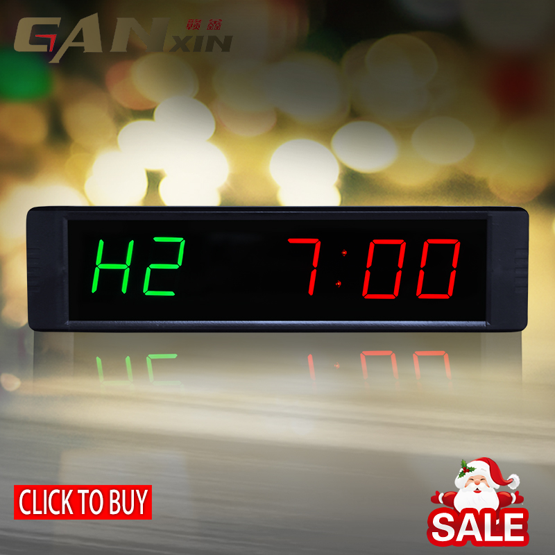 [GANXIN] LED garasi waktu Tinju GYM Crossfit tabata interval EMOM Programmable Countdown / UP stopwatch Real time jam