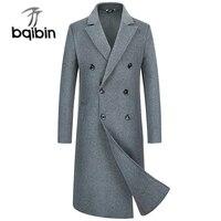 Для мужчин Шерсть Тренч теплая куртка длинные серый Slim Fit пиджаки Настоящее Шерстяное пальто
