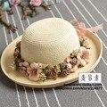 Guirlanda Artesanal verão flor strawhat das mulheres sunbonnet chapéu de balde hem roll-up cap praia chapéu de sol para as mulheres