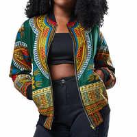 Afrikanische Druck Jacke Frauen Dashiki Langarm Mode Dashiki Kurze Casual Jacke