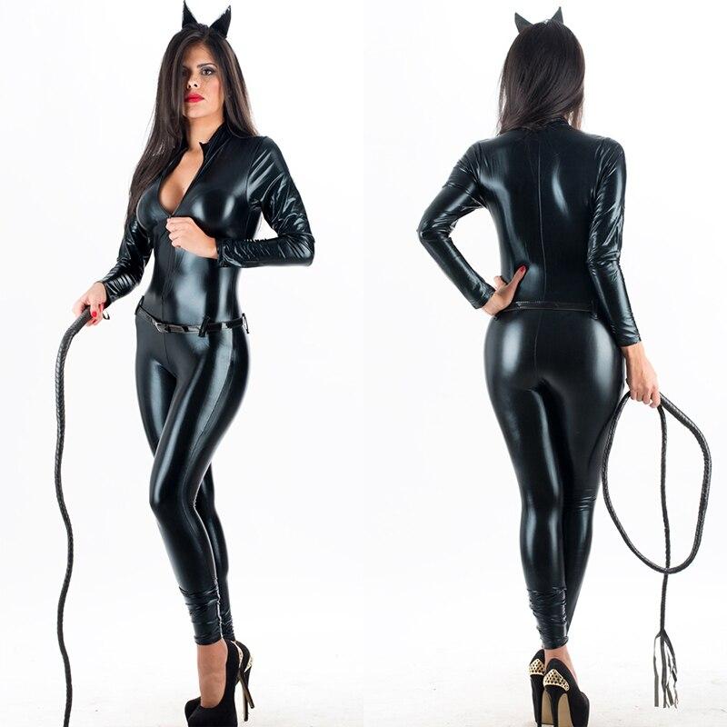 Женский костюм для костюмированной вечеринки, сексуальный комбинезон из искусственной кожи с кошкой, Женский латексный костюм для костюми