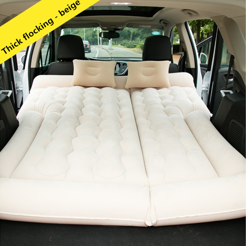 164 132CM Camping Car Bed Inflatable Car Mattress Air Mattress Seat Cover Pillow Beige Grey Black
