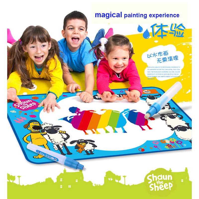 все цены на Funny Magic Learning Doodle Mat Drawing Painting Canvas Writing Board With Water Mat Pen For Children Kids Toy White Color