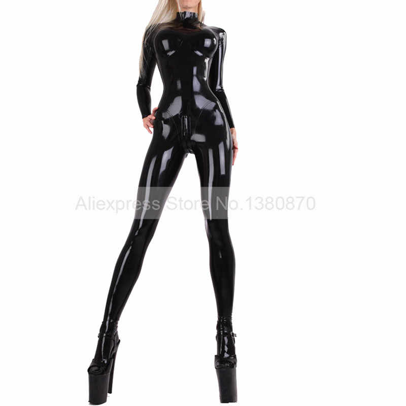 a0c8d131af6ed Black Sexy Latex Catsuit with Socks Overall Rubber Latex Bodysuit Zentai  with 3D Chest S-