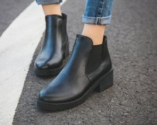 2019Hot Style Spring/autumn Winter Fashion Women Boots Round Head Thick Bottom Pu Leather Waterproof Woman black Boots Ankle(China)