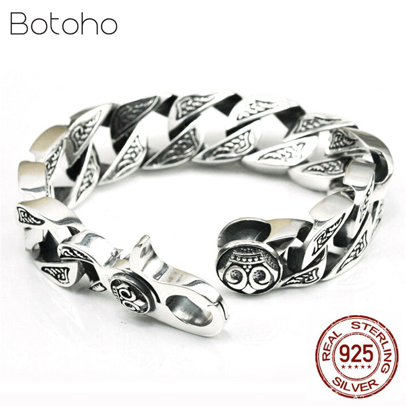 Pure Handmade Men Jewelry 100 925 sterling Silver Bracelet Black Retro Heavy Thai silver Fashion Jewelry