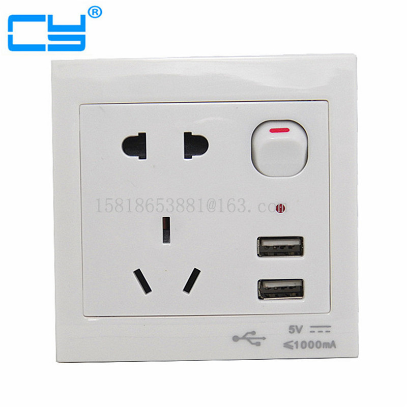 Universal USB Wall Socket AC 110-250V US EU AU Wall Socket 2 Port 5.0V USB Outlet Power Charger for Cellphone 20052 universal power socket electrical apparatus module white ac 250v