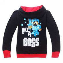 Outwear Minecraft Cartoon Hooded Jacket, Logo Print T-shirt for Boy Girls Pants