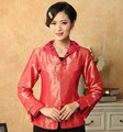 Spring Autumn New Red Women's Silk Satin Jacket Chinese Formal Costume Vintage Tang Suit Solid Color Slim Coat S To XXXL T026-A