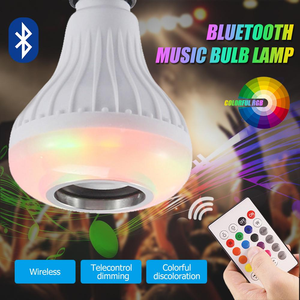 RGB Smart Stereo Bluetooth Bulb Wireless Smart Bulb LED Light Speaker Music Playing Lamp Remote Control Dropshipping