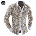2016 Men'S Fashion Men Shirt Color Printing Slim Square Collar Long-Sleeved Shirt Single-Breasted Shirt XXL LDYHF
