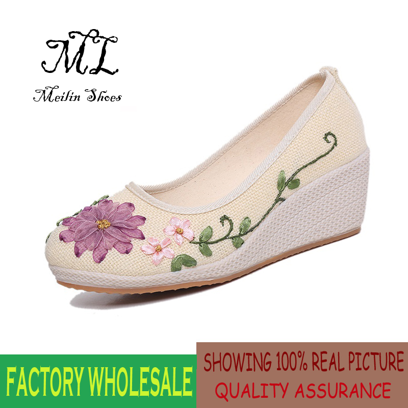 Women New 2016 vintage women flats fashion embroid...