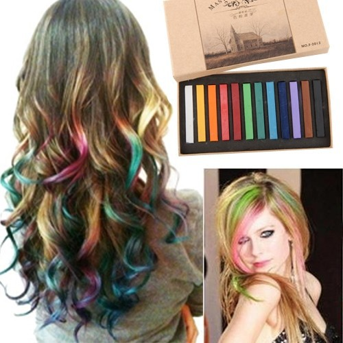 nouveau 12 pcs temporaire cheveux craies craies de couleur 12 couleurs salon kit dessin craies - Coloration Craie Cheveux
