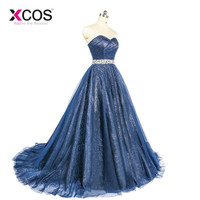 XCOS Robe De Soiree Glitter Shiny Evening Dress Real Sparkling Navy Blue Sexy Evening Party Specail Occasion Long Formal Dresses