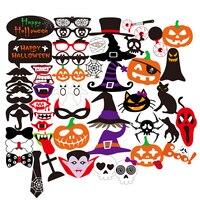 52pcs Halloween Horror Photo Props On A Stick Skull Magic Hat Pumpkin Funny Paper Beard Batman
