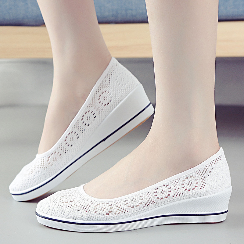 Women Shoes 2018 Nurse Flats Breathable Platform Shoes Soft for Walking Comfortable Slip On White Shoes Woman Plus size 1h15 ribetrini 2018 top quality slik upper crystals slip on spring summer shoes women flats comfortable date easy for walking